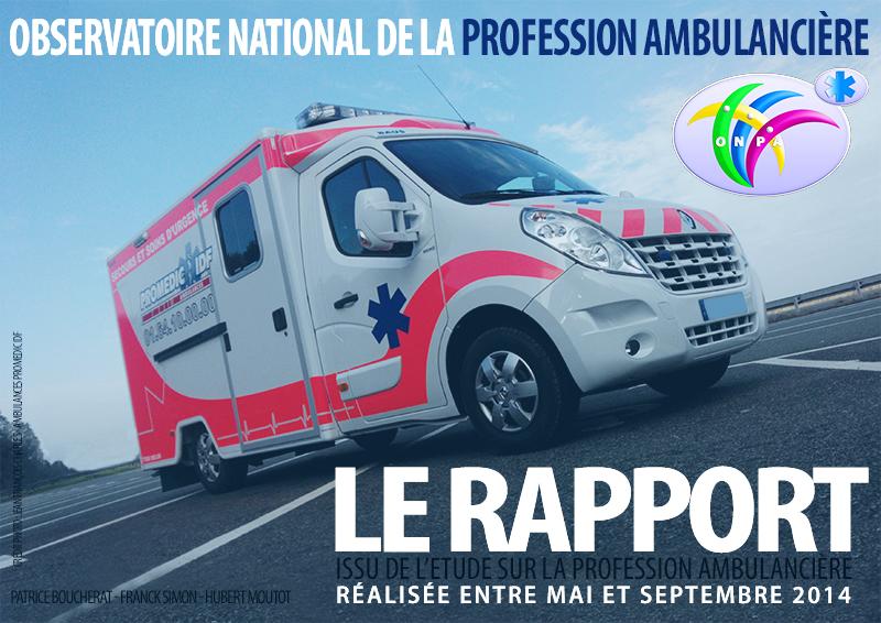 couverture rapport onpa article Ambulancier : le site de référence ONPA : le rapport issu de l'étude sur la profession ambulancière est arrivé